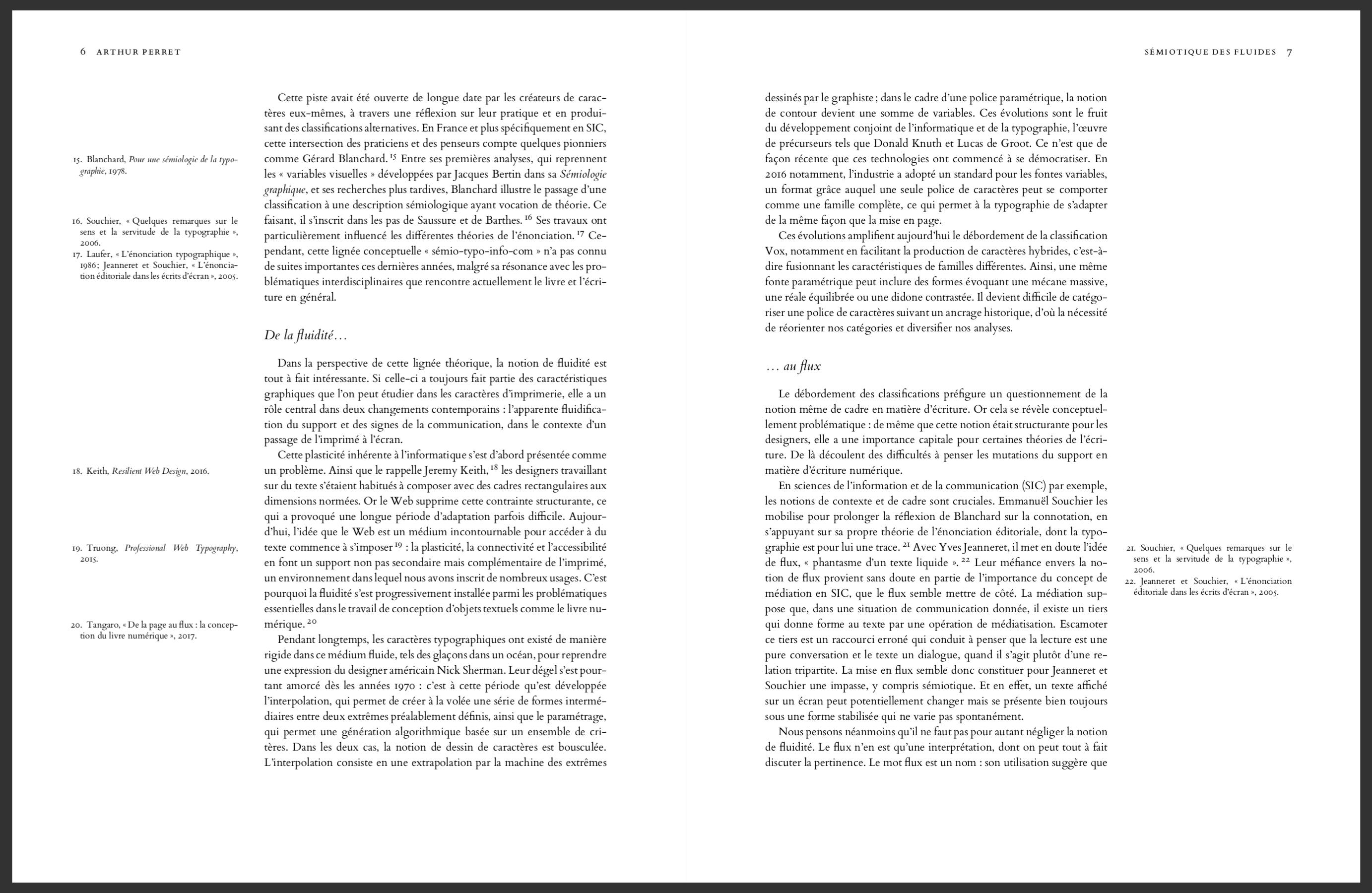 Une double page d'article utilisant la classe LaTeX Tufte handout.
