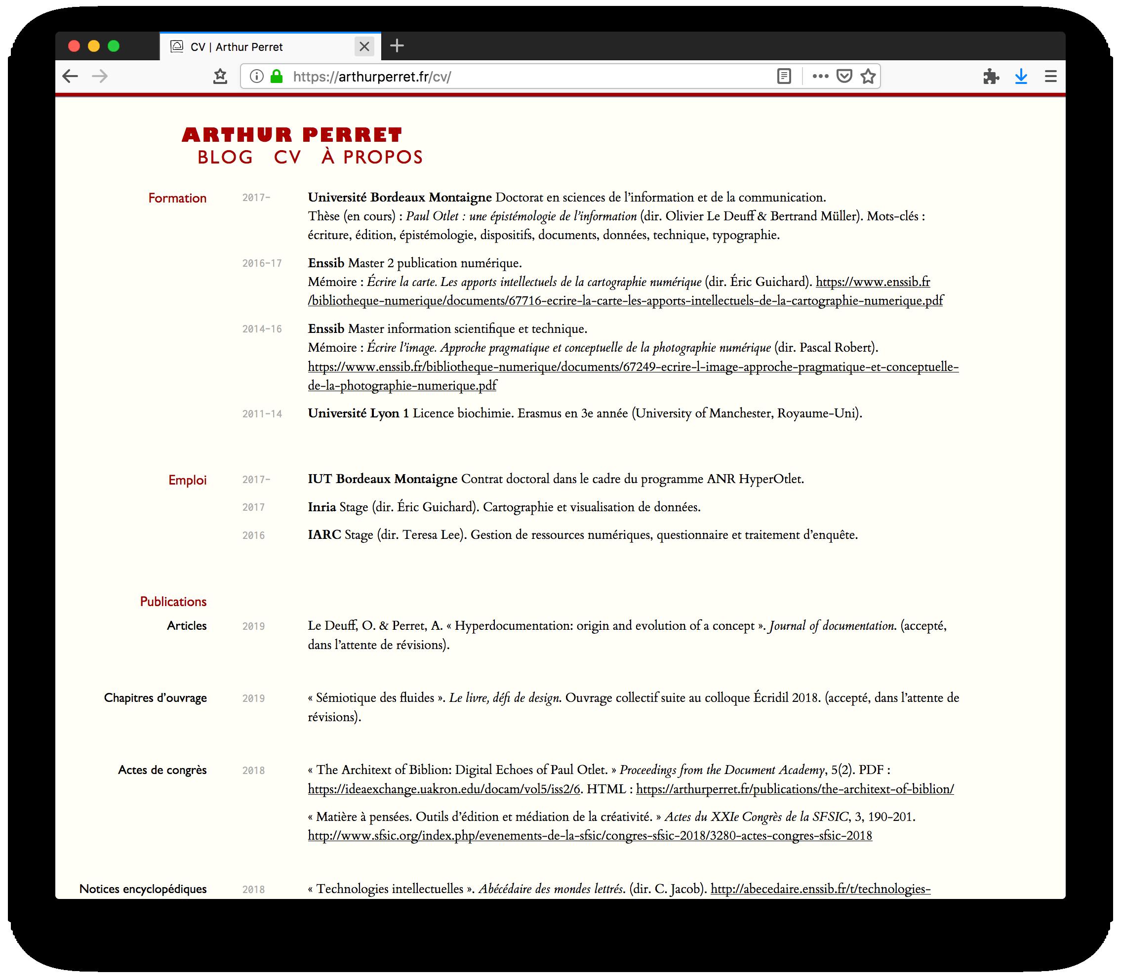 CV version web