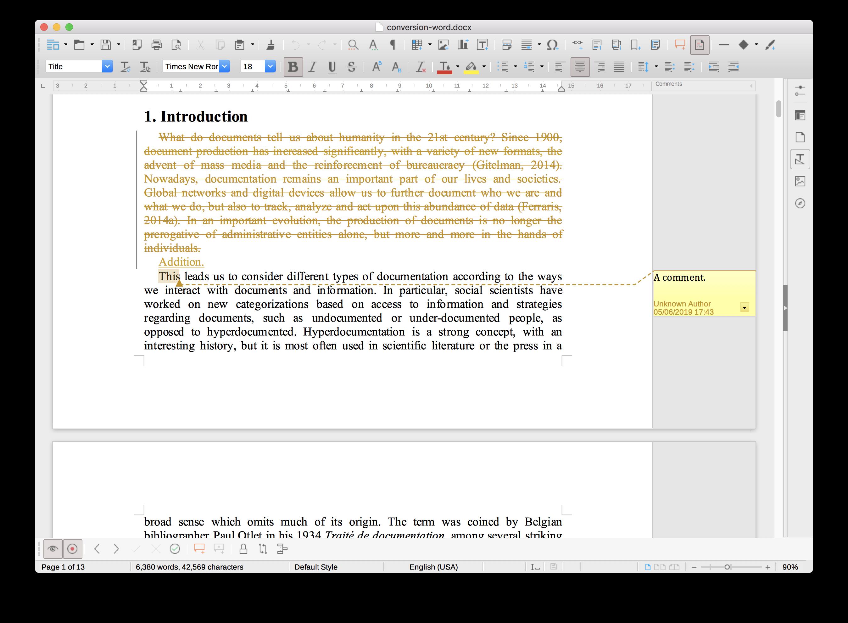 Le mode Révision dans LibreOffice.