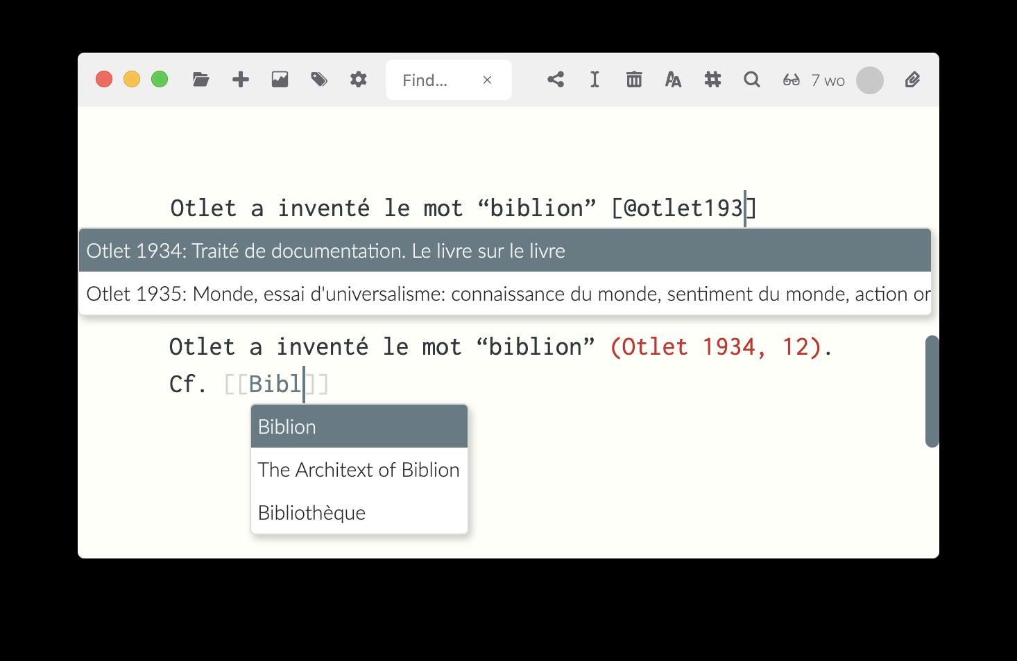 Le sélecteur de clé pour les citations et le sélecteur de fichier pour les liens internes dans Zettlr (NB: c'est un montage, les deux ne peuvent pas apparaître en même temps).