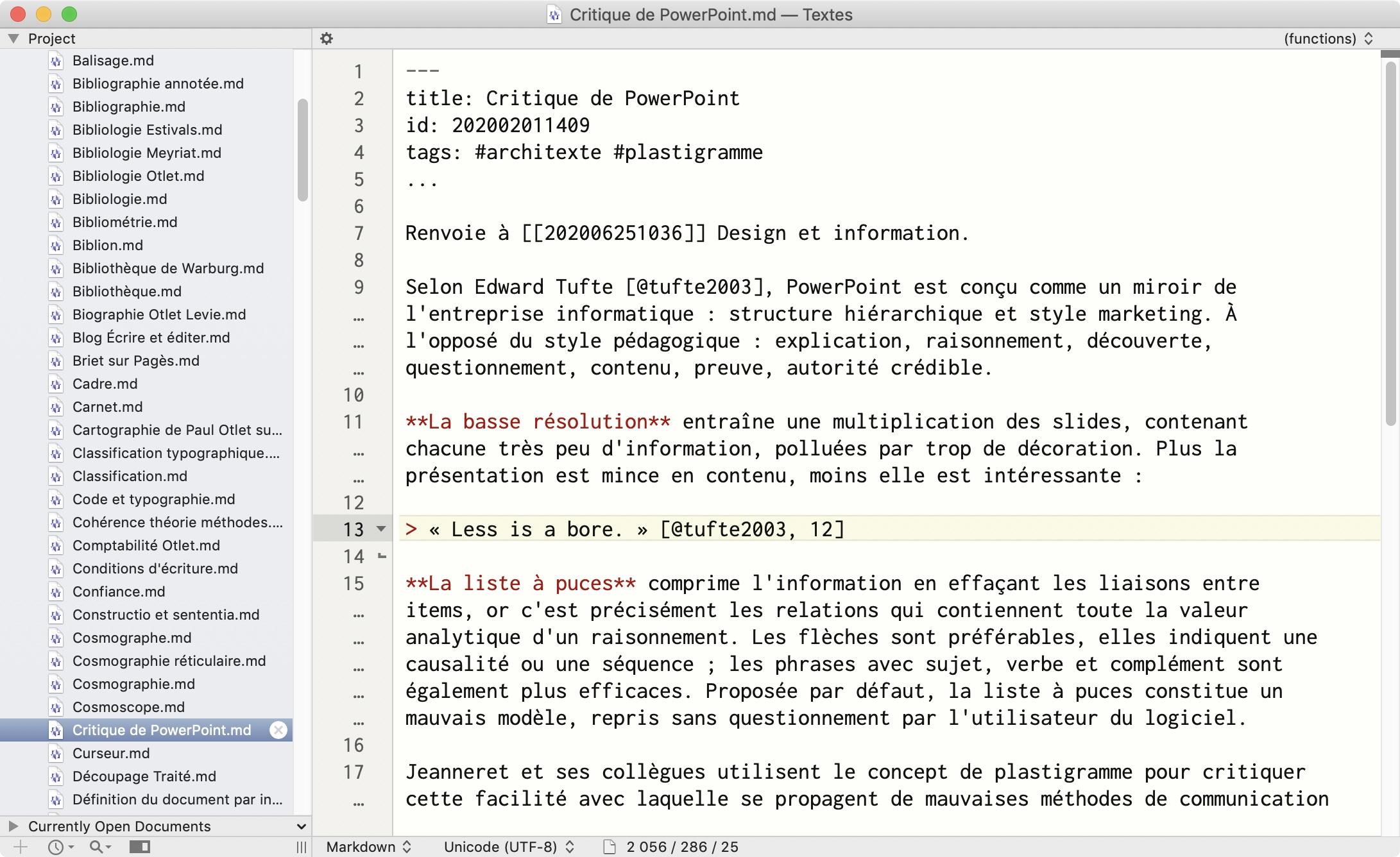 Une fiche de mon Zettelkasten, dont la configuration reflète mes besoins: métadonnées structurées, citations.